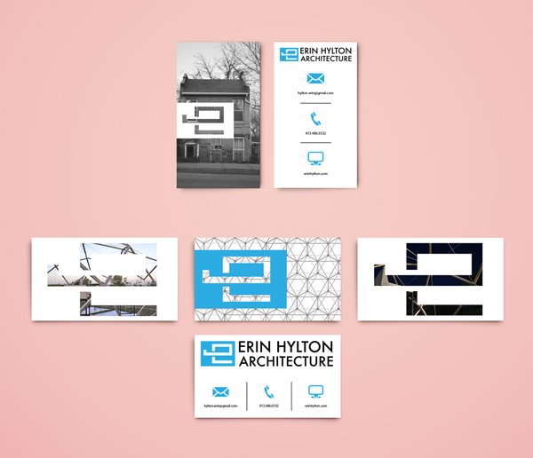 Erin hylton architecture branding zack muenz design illustration business card package for the client including multiple variations of the card representing the clients diversity in the field of architecture reheart Image collections